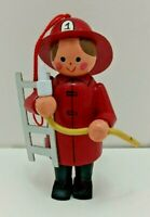 Vintage Wooden Fireman Firefighter Christmas Ornament Midwest Made Taiwan Cute!
