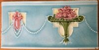 Collectible tile rare antique englnd c1900 art vintage nouveau border majolica