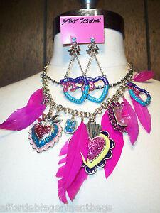 Betsey Johnson Pink Feathers Snake Charm Rhinestone Statement Necklace Earrings