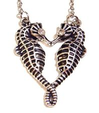 SEAHORSE HEART NECKLACE silver pendant crystal lovers couple mermaid fish 1V