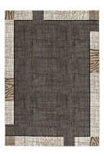 Tapis moderne poil ras bordures design rétro OFFRE gris argent 200x290