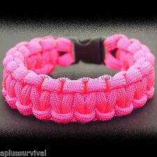 Neon Pink Paracord Emergency Rope Survival Bracelet 9 Feet 7 Strand 550 LB