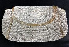 Art Deco Handbag Evening Purse Belgium Finger Clutch White Glass MOP Bugle Beads