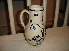 Superb Williamsburg Restoration Salt Glazed Stoneware Pottery Pitcher-Blue Color