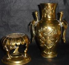 Elegant Asian Brass Censer or Vase Suzaku Phoenix Incense Burner Brass Censer