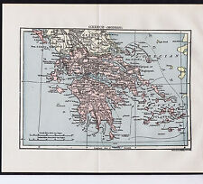 Greece Century-Old 1904 COLOR MAP