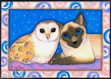 ACEO LTD EDIT SIAMESE CAT AND OWL  PAINTING PRINT FROM ORIGINAL SUZANNE LE GOOD