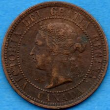 Canada 1882 H 1 Cent One Large Cent Coin - VF/EF