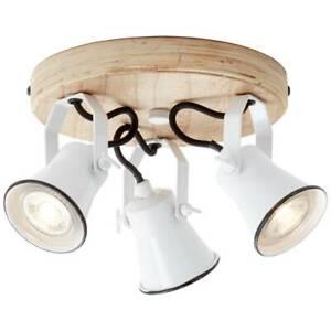 BRILLIANT Lampe Seed Spotrondell 3flg weiß/holz hell | 3x PAR51, GU10, 5W, geeig