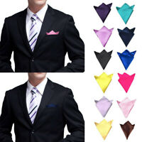 Men Wedding Formal Party Suit Solid Satin Silk Pocket Square Hankie Hankerchief