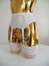 "XXSmall Lycra + Lace 4 White Strap Designer Retro Suspender Belt 22-24"" Waist"