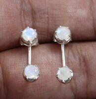 925 sterling silver rainbow moonstone stud earring women silver Fine jewelry