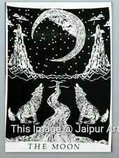 Throw Black White Decorative Poster Tapestry Wall Hanging The Moon Wolf Crying