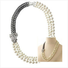 Vogue Crystal Diamante Daisy Pearl Link Long Ajustable Necklace Chain Elegant