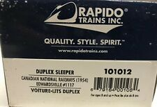 HO Scale Rapido 101012 Canadian National CN Duplex Sleeper Edwardsville Lighted