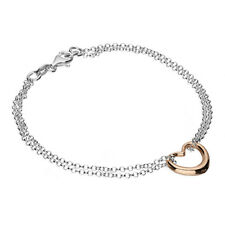Sterling Silver & Rose Gold Vermeil Love Heart Bracelet