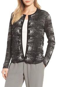 Eileen Fisher Linen Crepe Knit Round Neck Cardigan, Black/Bone, 2x, NWT