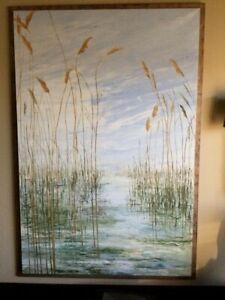 Marshland Waters, 5'x9' Painting by Greek artist, Magdalini Sakelaridi