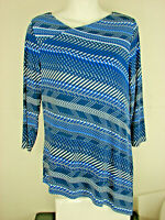 Travelers By CHICO'S Asymmetrical Top Striped 3/4 Sleeve Blue White- Sz.0