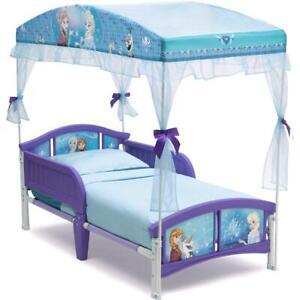 Toddler Bed Frozen Little Girls Canopy Princess Furniture Bedroom Purple Blue