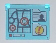 LEGO - Window Glass 1 x 4 x 3 - Opening w/ Map, Minifig Silhouette - Trans-Blue