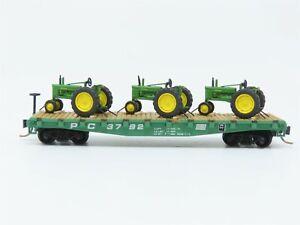 N Scale Roco PC Penn Central Flat Car w/ Tractors #3792 Custom