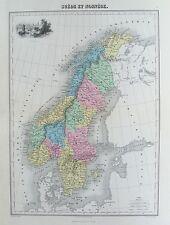 OLD ANTIQUE MAP SWEDEN & NORWAY VIEW STOCKHOLM c1870's by SENGTELLER / DALMONT