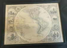 Antique J. Rapkin Drawn & Engraved Western Hemisphere World Map Framed