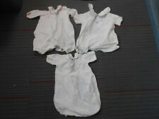 3 vintage baby girl / childrens white cotten one piece outfit w pink embroidery