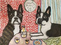 Boston Terrier at the Pub Art Print 8x10 Dog Collectible Signed by Artist KSams