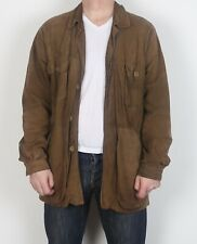 "Suede Leather fitted Jacket coat Medium Large 42""  Brown 70's  (G1N)"