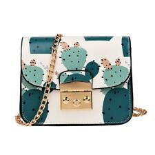 Girls Cactus Print Flap Leather Shoulder Handbags Women Chain Crossbody Bag