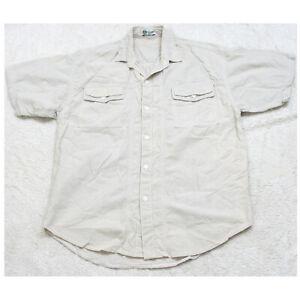 Grand Slam Crispa Beige Men's Two Pocket Dress Shirt Short Sleeve Size Medium
