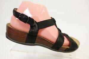 SAS Clover Black Sz 8.5 W Wide Women Ankle-Strap Sandals