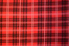 """Red Plaid Polar Fleece Fabric BTY 60"""" wide"""