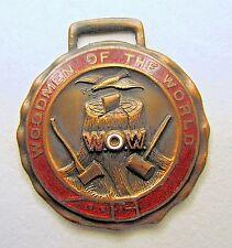 circa 1910 W.O.W. WOODMEN OF THE WORLD enamel inlay watch fob +