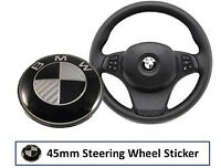 BMW Carbon Black Steering Wheel Badge Sticker Fits All 1 3 4 5 7 Series Z4 45mm