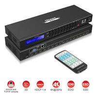 TESmart 4K UHD HDMI Matrix 8x8 Switch Switcher IR RS232 TCP/IP Control Rack-Moun