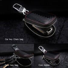 Schwarz Rindsleder Fernbedienung Gehäuse Schlüsseltasche Schlüsseletui für Auto