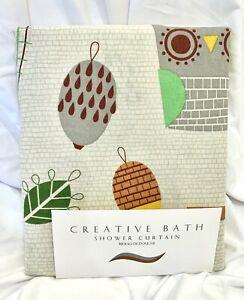 "CREATIVE BATH Owl Shower Curtain ""Give a Hoot"" Cotton Fabric Pinecones NWT"