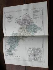 1850 Carte Géographique Atlas époque couleur Département 31 Hte-Garonne Toulouse