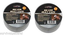 """New listing (2) Silver Duct Tape 2""""x30' Weather & Water Resistant Camping Survival Emergency"""