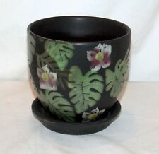 """New 4.5"""" TROPICAL FLOWERS & PALM LEAVES FERN LEAVES  PLANTER PLANT POT & SAUCER"""
