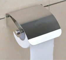 Toilet Tissue Paper Roll Holder / Dispenser with Lid - Stainless steel bathroom.