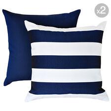 Set of 2. Kona Navy + Mallacoota Marine Navy Outdoor Cushion Covers - 45x45cm