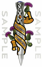 Scotland Forever Thistle Celtic Dirk Sticker Car Truck Van Bike Boat tool box