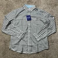 Men's HUK Performance Fabric LS Button Down Fishing Shirt Sz M Plaid Black White