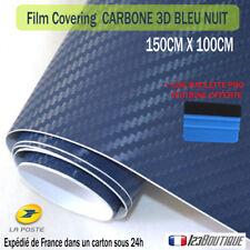 Film covering carbone bleu foncé auto moto thermoformable + raclette de pose