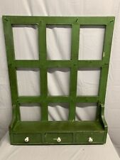 Antique Country Distressed Wood Painted Wall Kitchen Shelf Rack Drawers