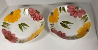 """Vtg La Primula 8"""" Pasta Soup Bowls (2) Yellow & Pink Floral Hand Painted Italy"""